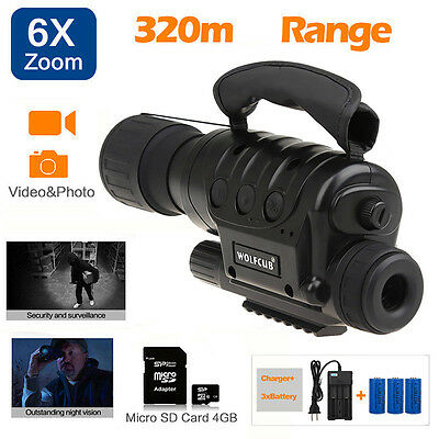 Night Vision Monoculars Infrared Illuminator Video Record Picture+CR123A Battery