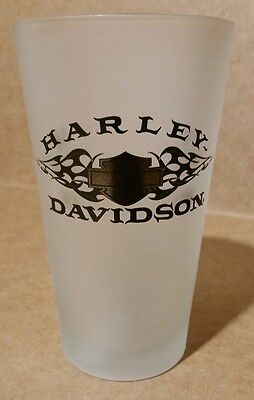 Harley Davidson Tall Frosted Drinking Glass  16oz