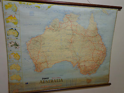 Vintage Retro Gregory's School Style Wall Map - Display, Office - Australia -