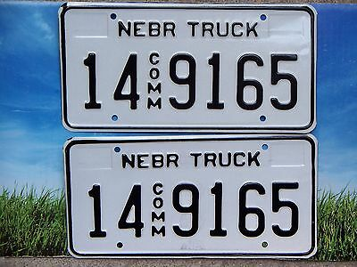 Pair 1997 Base Nebraska Commercial Truck License Plates 14 9165 Adams Cnty Mint