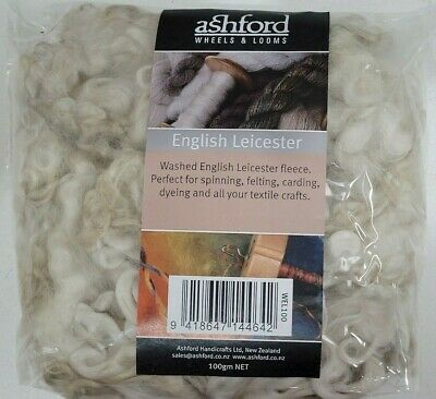 Ashford Washed English Leicester 100g Wool for Spinning Felting Carding or Dying