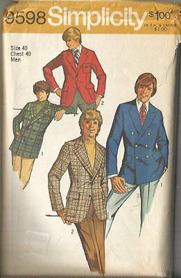 Vintage 70's Simplicity Men's Fitted Jackets Pattern 40 C #9598