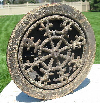 Vtg Antique Cast Iron Smoke Fire Mechanical Working Damper Floor Wall  Nautical