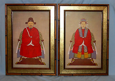 Pair Vintage Asian Prints Man & Woman Ceremonial Dress Robe Bamboo Look Frame