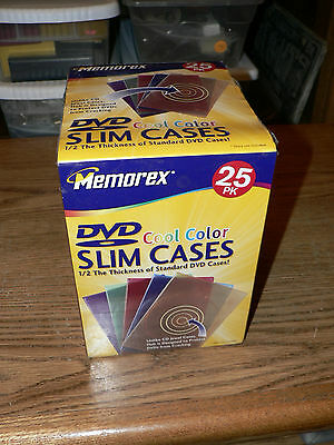 New Sealed Memorex 25 Count Retail Brick Pack DVD/CD Cool Colors Poly Slim Cases