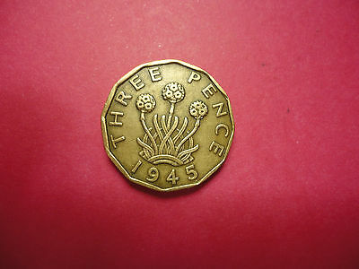 1945 English Three Pence Coin      Combined Shipping