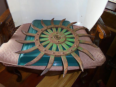 "Jd Green Rotary Cast Metal Hoe Spiked Art Decor Wheel 19"" Vintage"