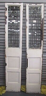 "Pair Of Antique Beveled Glass 84.9"" Side-Lites Large Tulip Design Estate # 635"