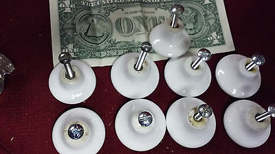 Old Tools Vtg Lot of 8 White Porcelain drawer pulls Dresser