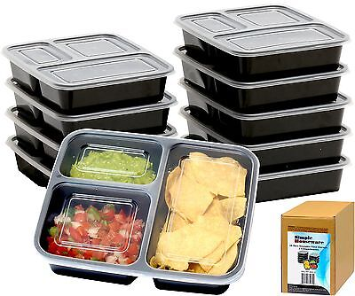 NEW Meal Prep Containers Reusable 3 Compartment Food Storage 10 Pack with Lids
