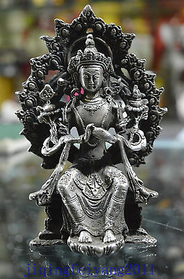 Chinese collectableTibet Silver handwork carve lucky tibet buddha statue