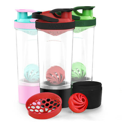 AVOIN colorlife 720ml Protein Shaker Bottle with Mixball and 200cc Storage Jar
