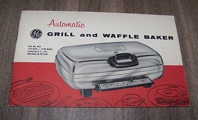 Vintage GE Automatic Grill and Waffle Baker Catalog#G42 Recipe Book/Manual