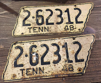 (2) 1948 Tennessee TN License Plate Shelby County Set