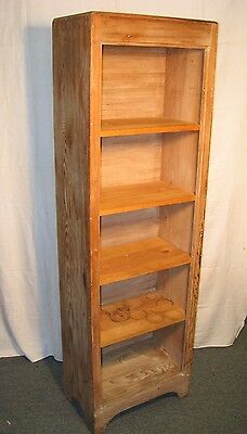 Vintage True American Country Rustic Distressed Pine 5 Shelf Bookcase Cabinet