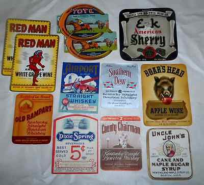 Lot Of 12 Vtg Original Whiskey & Wine Labels All Mint Condition!