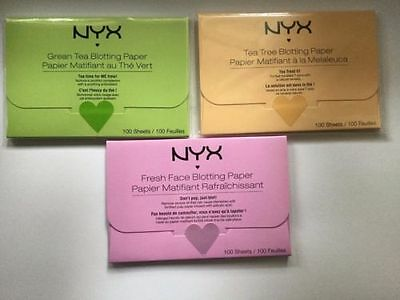 NYX Facial Blotting Paper 100 Sheets Per Pack - Choose from 3 Variants