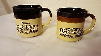 Hardee's Rise and Shine Restaurant vintage collectible coffee mugs 1986 1989