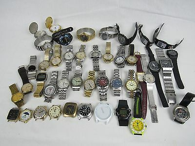 Lot of 43 Men's High End Wrist Watches FOR PARTS OR REPAIR Seiko Fossil Timex