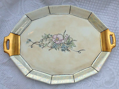 12 sided Limoges France Coffee Factory Lustre Tray (95)