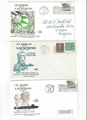 USS Greenling, Nathan Hale, Tecumseh   US Navy Covers (3)