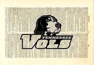 Upcycled Vintage Dictionary Book Page Wall Art Print - NCAA Tennessee Vols
