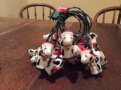 String of 10 Christmas Cow Lights Vintage Retro Country
