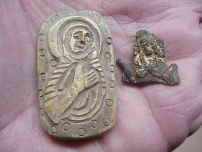 #887 Lot 2 Ancient Byzantine 1000 A.d. Christian Cattle Bone Mary & Jesus Relics