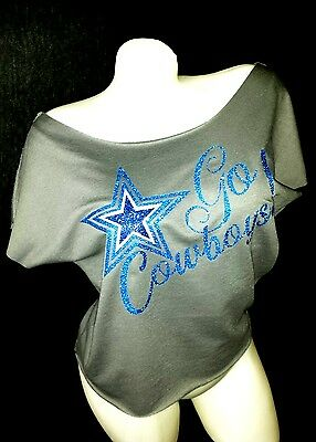 Go Dallas Cowboys!Silver Terry Raw Edge Dolman Tee ~ with Shiny Lettering!