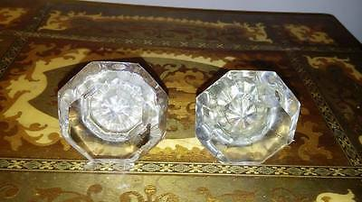 Four Antique Eight Point Glass Crystal & Brass Door Knob Hardware only