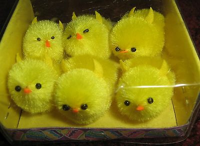 "Set of 6 Medium 1 1/2"" Chenille Chicks NIB"
