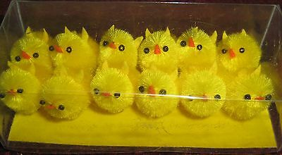 "One Dozen 1"" Small Chenille Chicks NIB"
