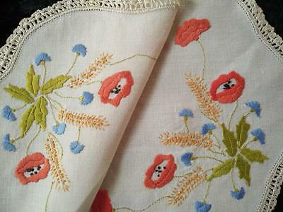 Red Poppies/ Blue Cornflowers/ wheat ~ Vintage Hand Embroidered Centrepiece/mat