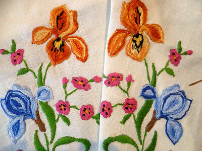 Gorgeous Iris Flowers ~ Vintage Heavily Hand Embroidered Tablecloth