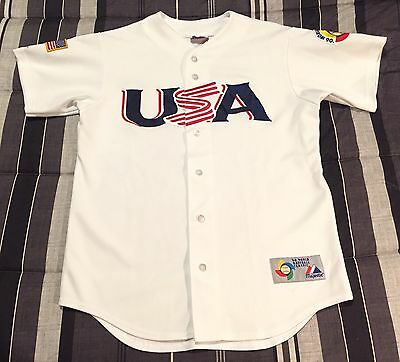 Vintage 2006 World Baseball Classic Sewn MLB Majestic Team USA Jersey - M Medium