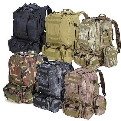 55L Outdoor Hiking Backpack Tactical Molle Military Rucksack Travel Camping Bag