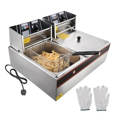 5000W 20L Commercial Electric Deep Fryer Twin Fat Chip Dual Tank Stainless Steel
