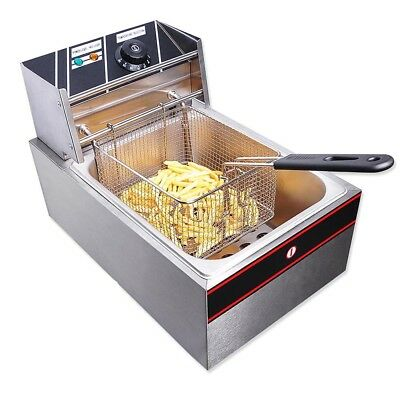 2500W 10L Electric Deep Fryer Fat Fry Chip Commercial Countertop Stainless Steel