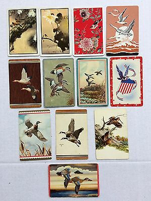 Mixed Lot of 12 X Vintage Swap / Playing Cards - Various Birds & Ducks