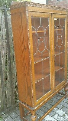 Fabulous Quality 1920's Solid Golden Oak Display Cabinet Bookcase Leaded Glass