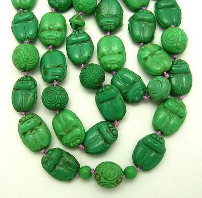 Vintage ART DECO Czech Max Neiger Green Scarab Glass Bead Necklace