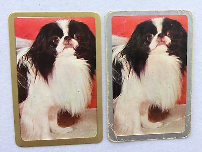 Vintage Swap / Playing Card Pair - Dogs - Pekinese - Gold & Silver - Blank Backs