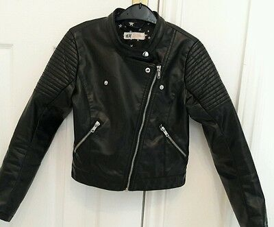 girls H&M leather look biker jacket. age 9