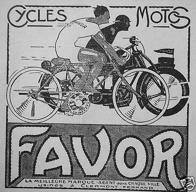 Publicité 1929 Cycles Motos Favor