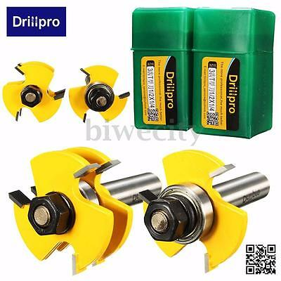 """2X Tongue & Groove Router Bit Set 3/4"""" Stock 1/4"""" Shank Woodworking Cutter Tool"""