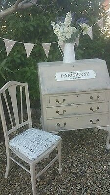 Vintage Shabby Chic Bureau Desk and Vintage Chair in Annie Sloan Country Grey