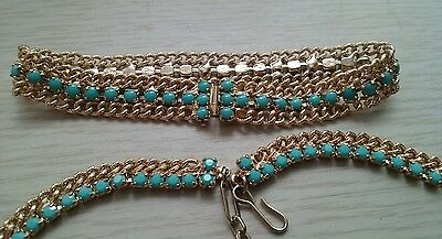 Vintage Gold Tone Necklace And Bracelet Set With Turquoise Stones