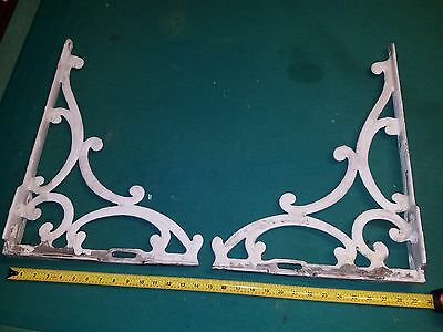 Pair Large Antique Victorian Cast Iron Corbel Gingerbread Brackets Porcelain WOW