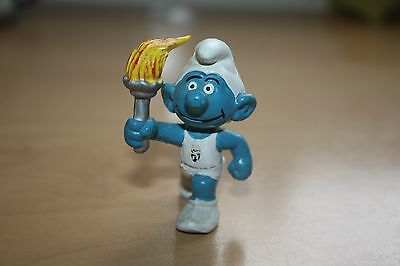 Promo Olympic Torch Bearer Telethon Smurf No Markings Schtroumpfe Schlumpfe
