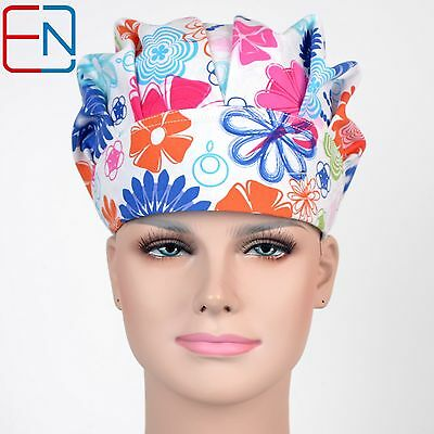surgical medical bouffant caps with high quality -white-flowers